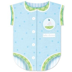 Blue Snapsuit Baby Shower Invitations 8ct