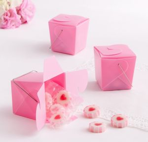 Pink Take-Out Style Favor Boxes 12ct