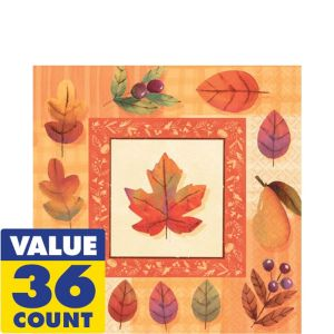 Watercolor Leaves Lunch Napkins 36ct
