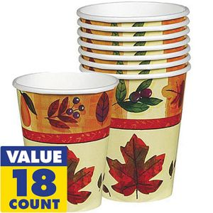 Watercolor Leaves Cups 18ct