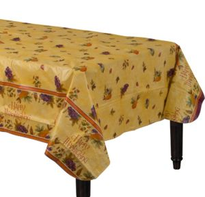 Thanksgiving Medley Flannel-Backed Vinyl Table Cover