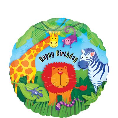 Happy Birthday Balloon - Jungle Animals