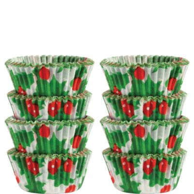 Holly Mini Baking Cups 200ct
