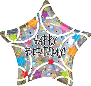 Happy Birthday Balloon - Holographic Star