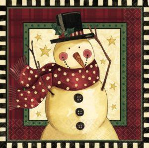 Cozy Snowman Dinner Napkins 16ct