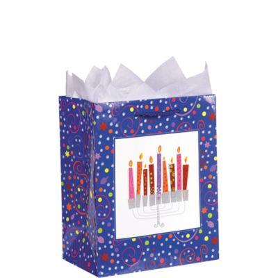 Glitter Playful Menorah Gift Bag