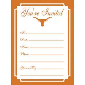 Texas Longhorns Invitations 8ct