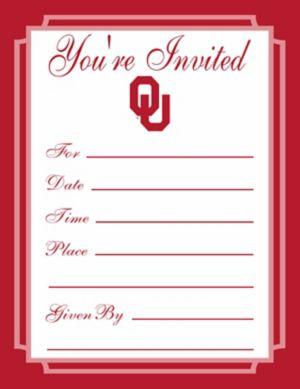 Oklahoma Sooners Invitations 8ct