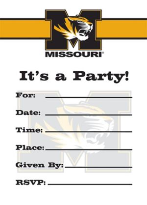 Missouri Tigers Invitations 8ct
