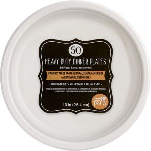 Eco-Friendly White Sugar Cane Dinner Plates 50ct