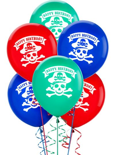 Happy Birthday Balloons 6ct - Pirate's Treasure