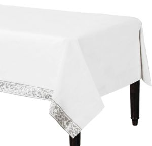 Linen-Like Premium White Silver Scroll Table Cover