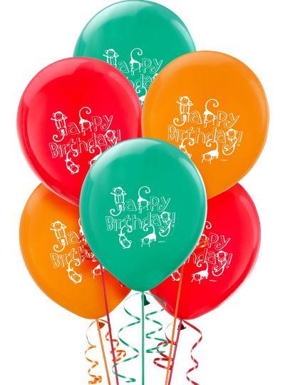 Happy Birthday Jungle Animals Balloons 6ct
