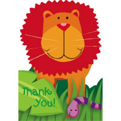 Jungle Animals Thank You Notes 8ct