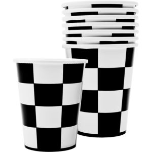 Black and White Checkered Cups 8ct