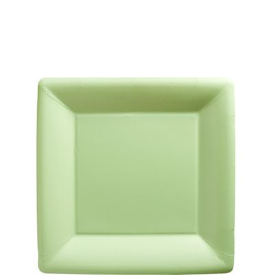 Leaf Green Paper Square Dessert Plates 20ct