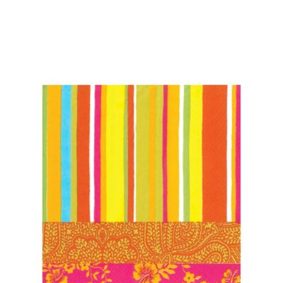 Hot Stripe Orange Beverage Napkins 20ct