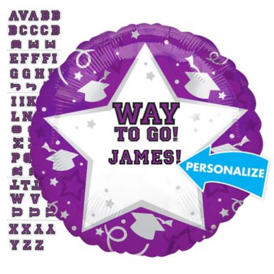 Purple Graduation Balloon - Personalized