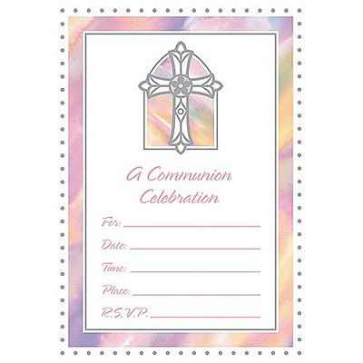 Pink Communion Invitation 20 Pack