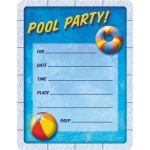 Pool Party Invitations 50ct