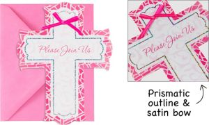 Premium Prismatic Pink Cross Invitations 8ct