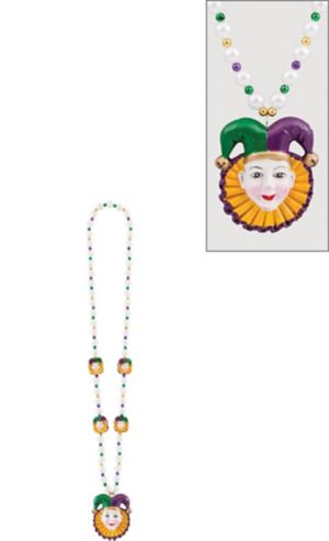 Jesters Mardi Gras Bead Necklace 26in