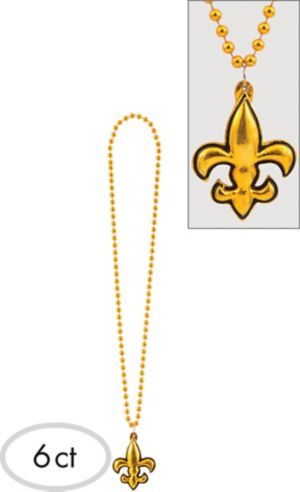 Gold Fleur-de-Lis Mardi Gras Pendant Bead Necklaces 6ct
