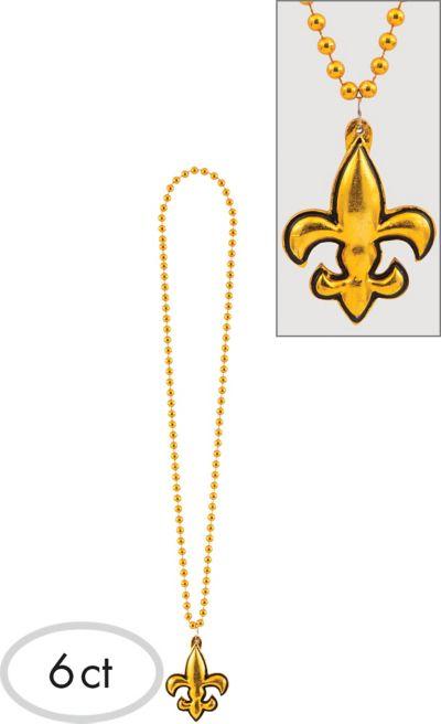 Fleur De Lys Mardi Gras Bead Necklaces 6ct