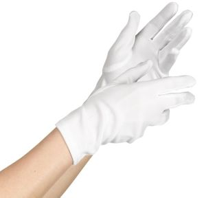 Womens White Short Gloves