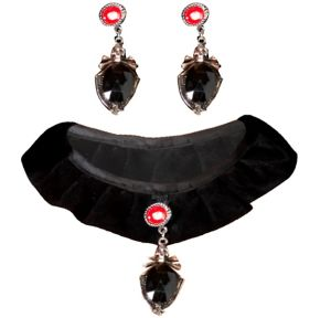 Gothic Velvet Choker and Earrings Set