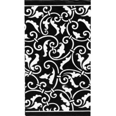 Black Ornamental Scroll Guest Towels 16ct
