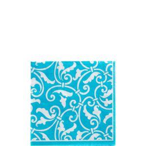Caribbean Blue Ornamental Scroll Beverage Napkins 16ct