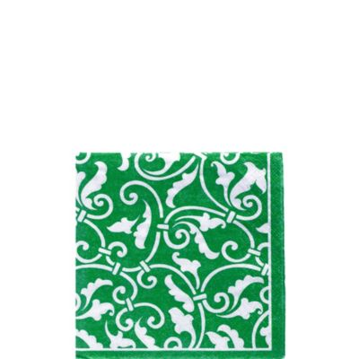 Festive Green Ornamental Scroll Beverage Napkins 16ct