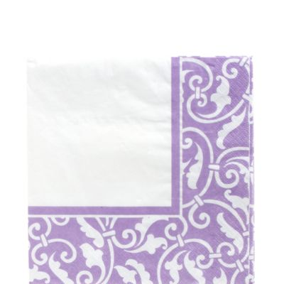 Lavender Ornamental Scroll Lunch Napkins 16ct