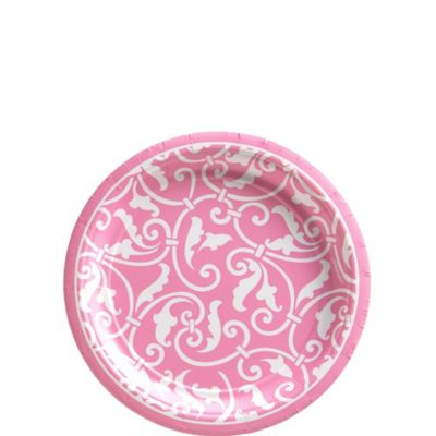 Pink Ornamental Scroll Dessert Plates 8ct