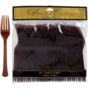Chocolate Brown Premium Plastic Forks 48ct