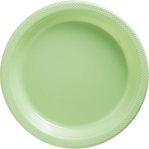 Leaf Green Plastic Dinner Plates 20ct