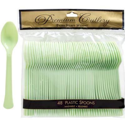 Leaf Green Premium Plastic Spoons 48ct