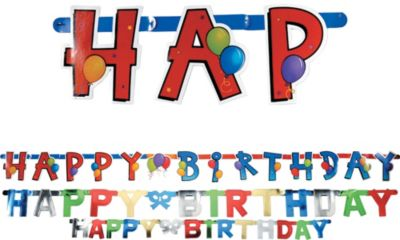 Balloon Fun Happy Birthday Banners 3ct