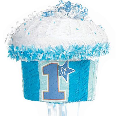 Pull String Blue 1st Birthday Cupcake Pinata