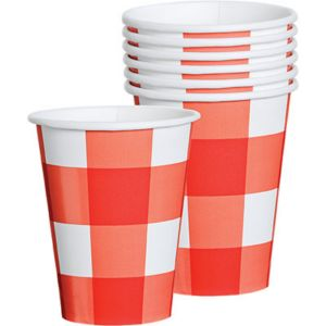 American Summer Red Gingham Cups 8ct