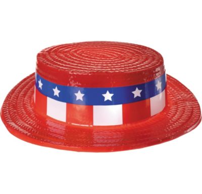 Red, White & Blue Plastic Skimmer Hat