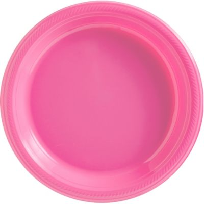 Bright Pink Plastic Dinner Plates 50ct