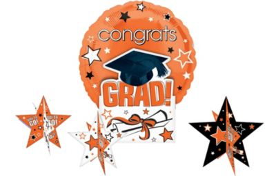 Orange Congrats Grad Graduation Balloon Centerpiece 5pc