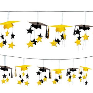 Yellow 3D Grad Cap Graduation Garland