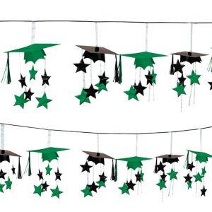 Green 3D Grad Cap Graduation Garland