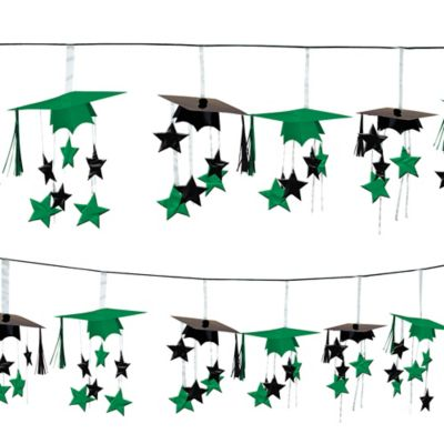 Green 3D Grad Cap Graduation Garland