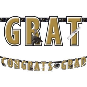 Black & Gold Graduation Letter Banner