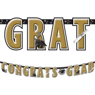 Black & Gold Graduation Letter Banner