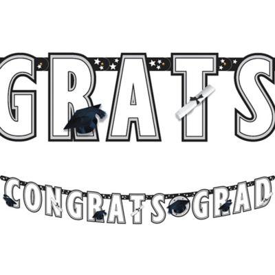 White Graduation Letter Banner